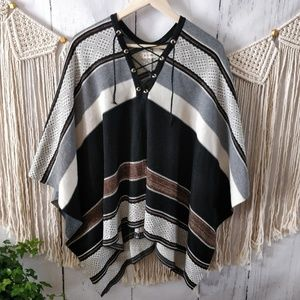 Nasty Gal Tan Striped Colorblock Lace-Up Poncho OS